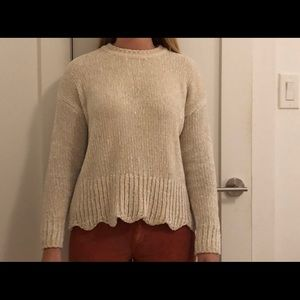 Cream Chenille Scallop Hem Sweater